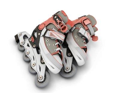 3d roller skates isolated