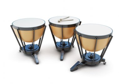 Kettledrums on a white