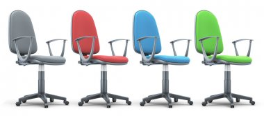 Four office chairs of different colors.