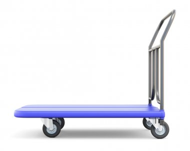 Baggage trolley side view isolated on white background. 3d illustration. stock vector