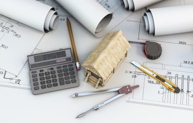 Calculator, tools designer and wooden house on projects