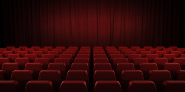 Closed theater red curtains and seats. 3d.