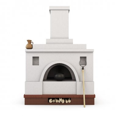 Russian stove front view. 3d.