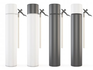 Set of closed bottles with construction foam isolated on white b