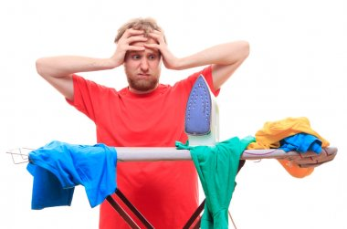 Man has a problem with ironing on board