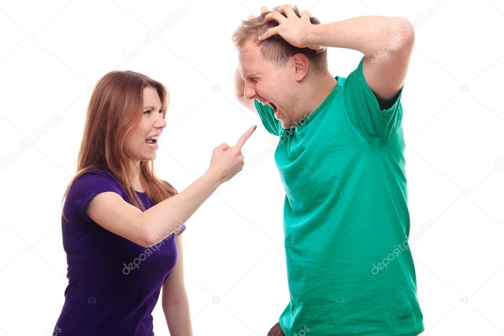 Girlfriend and boyfriend arguing