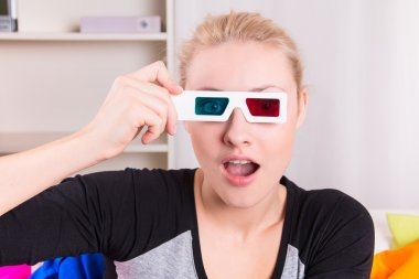 Woman watching 3D movie