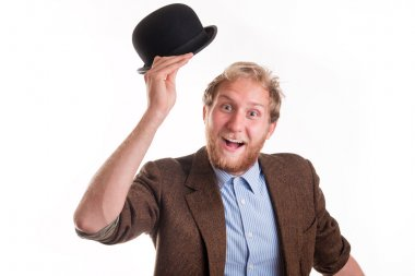 Old -fashioned man greets with his hat