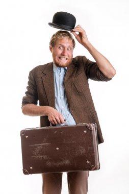 Funny traveler bearded man