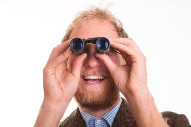 Portrait of cheerful man with binoculars - studio shot, close up stock vector