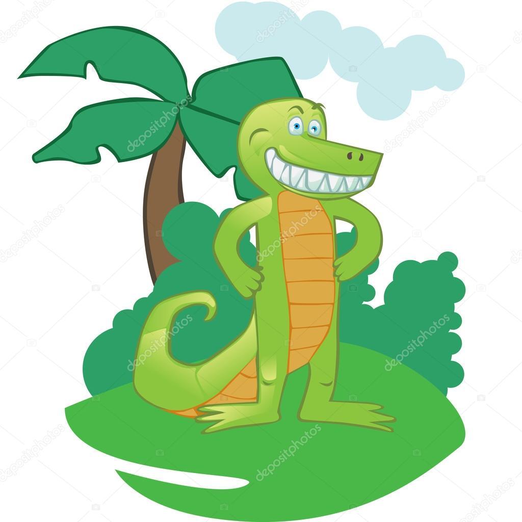 Mascotte Crocodile Dessin Anime Sur Fond Isole Image Vectorielle