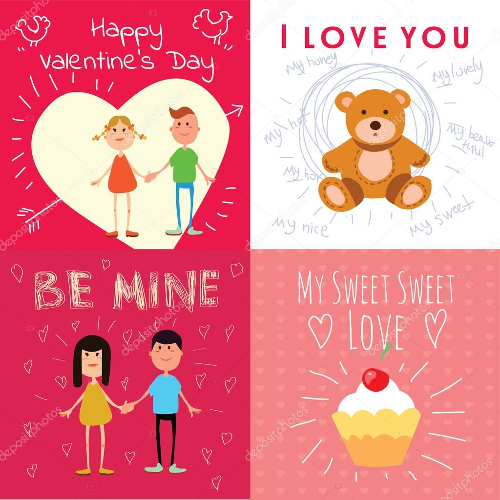 Happy valentines day cards with cartoon couple teddy bear cake – Teddy Bear Valentines Day Card