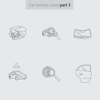 car service linear icons