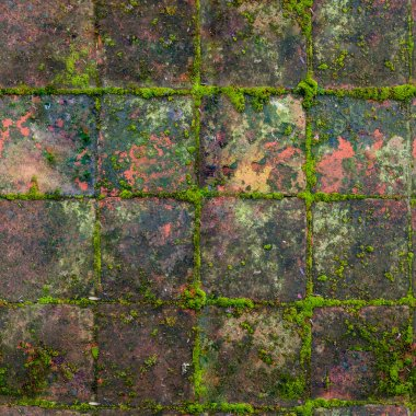 HQ seamless, tileable texture old medieval mossy outdoor tiles.