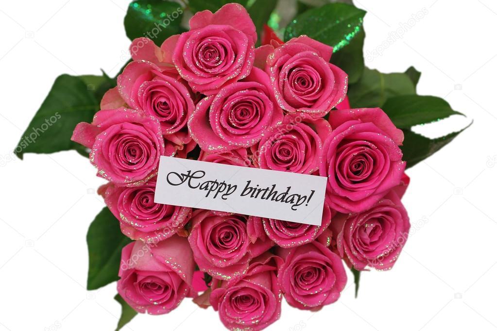 cartão de feliz aniversário com um buquê de rosas rosa isolado no