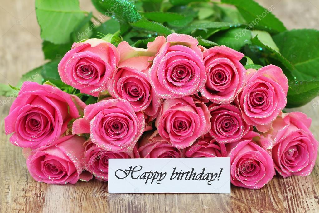 Happy birthday card with pink roses bouquet — Stock Photo ...