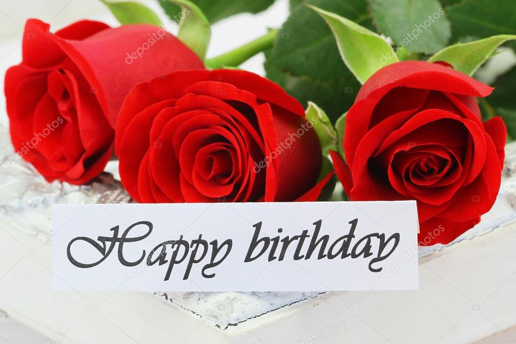 Happy Birthday Card With Red Roses Stock Photo
