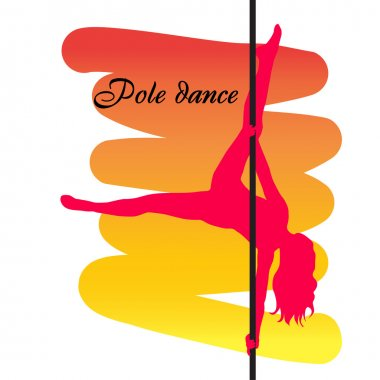Pole dancer with long hair  on the pole  on the yellow & red bac