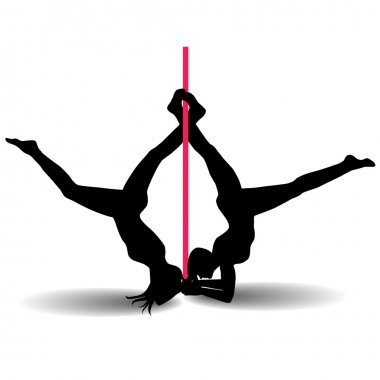 Two Pole dancers with long and short hair  on the pole  isolated