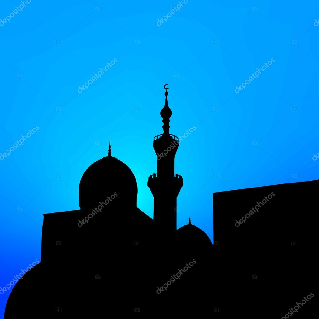 night landscape with beautiful mosques and minarets of the month