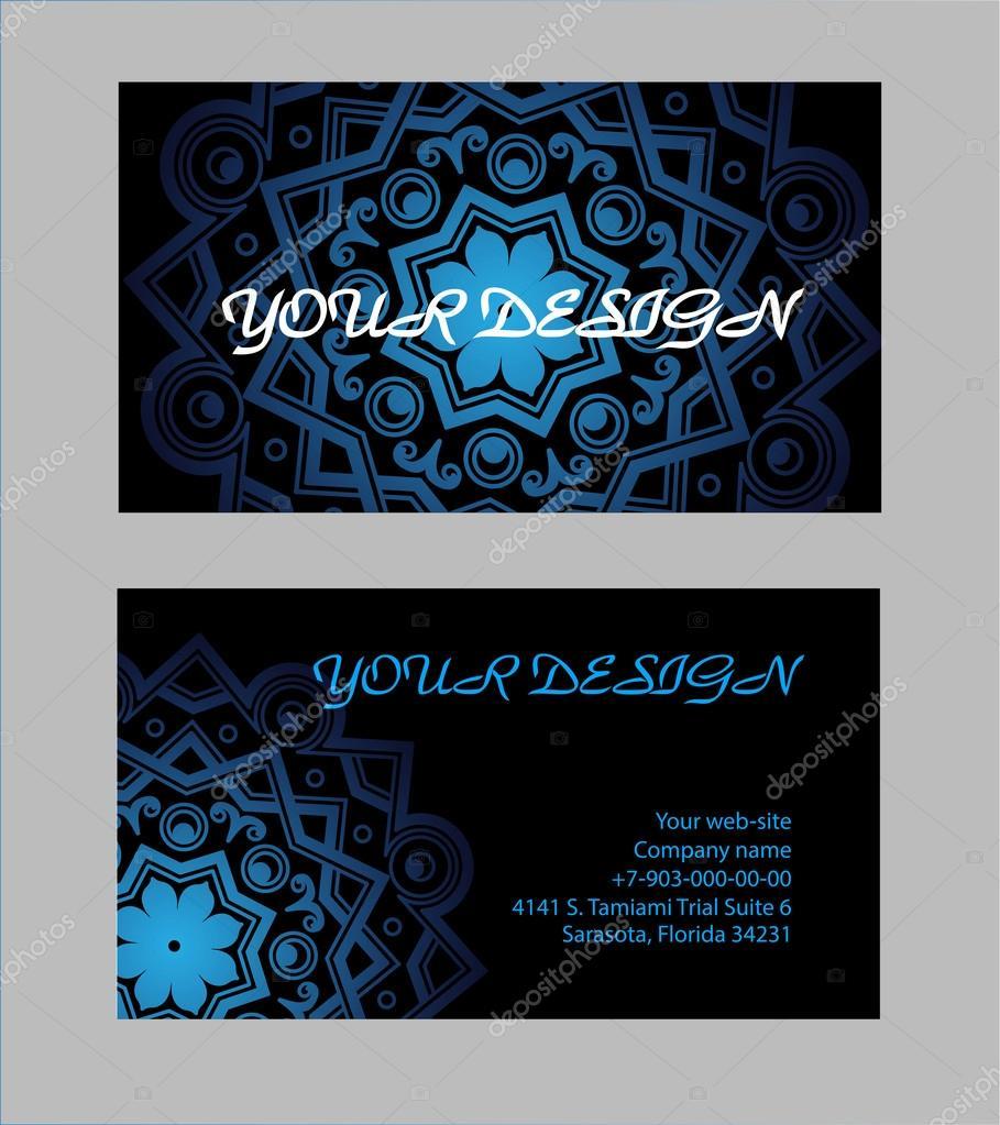 Jeu De Cartes Visite Avec Un Fond Noir Pour Votre Conception Mandala Arabe Illustration Vectorielle Vecteur Par Evgdemidova