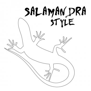 Beautiful  monochrome lizard, lizard silhouette. Vector illustra