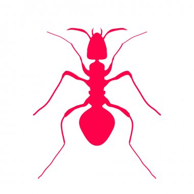 Red silhouette of ant, logo design. vector