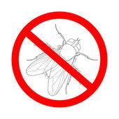 zákazovou značkou létat. Musca domestica. Hmyz. realistické mouchu. Leť siluetu. Fly izolované na bílém pozadí.