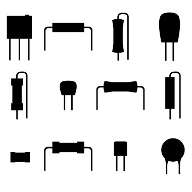 electronic components icons set, silhouette resistors isolated on white background. Vector
