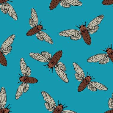 Seamless pattern with cicada . Cicadidae. Chremistica umbrosa.     hand-drawn cicada . Vector