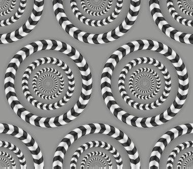 Rotating Circles, Optical Illusion, Vector Seamless Pattern.