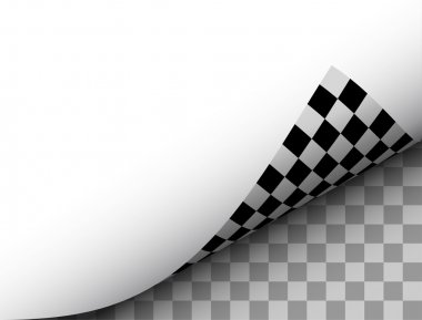 Blank Paper Sheet with Checkered Page Curl, Black White Vector Illustration.