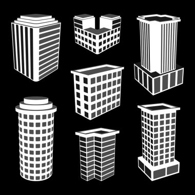 3D Office Buildings Icons. Vector Illustration.
