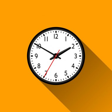School Clock Flat Icon with Long Shadow, Vector Illustration
