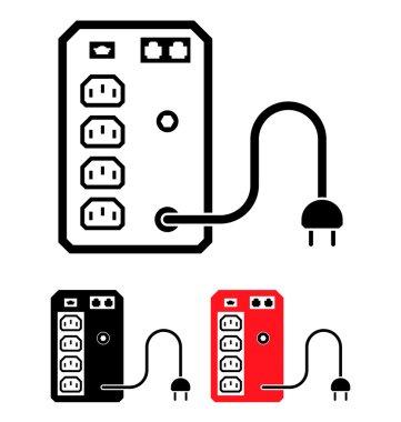 UPS Uninterruptible Power Supply Icon, Vector Illustration