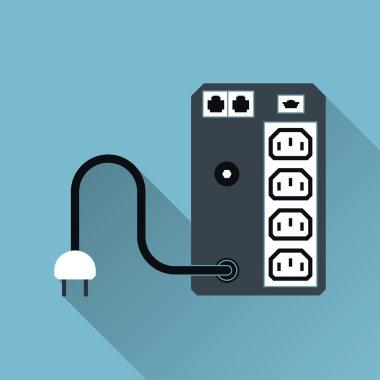 UPS Uninterruptible Power Supply Icon, Long Shadow, Vector Illus