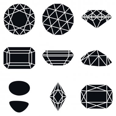 Gemstone Shapes Icons, Vector Illustration