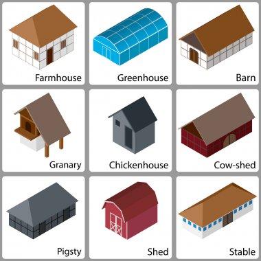 3D Farm Buildings Icons, Vector Illustration