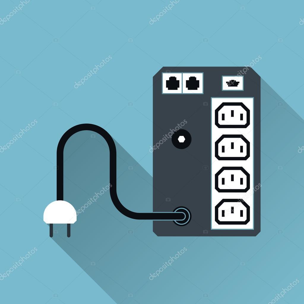 USV unterbrechungsfreie Stromversorgung Versorgung Symbol, lange ...