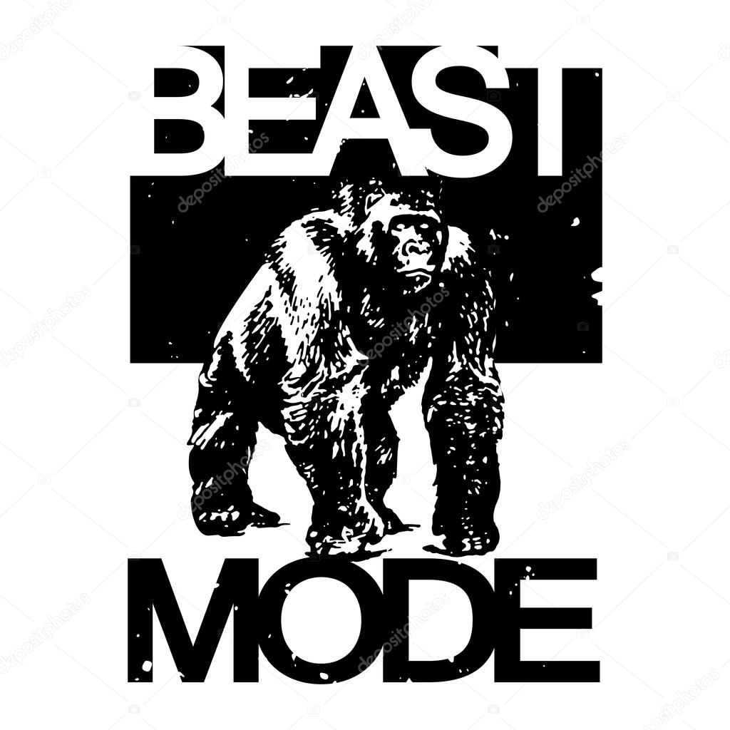 beast mode big gorilla monkey tshirt design vector