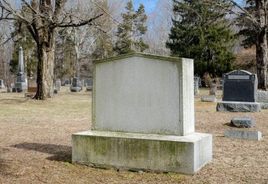 Blank Rural Cemetery Gravestone.