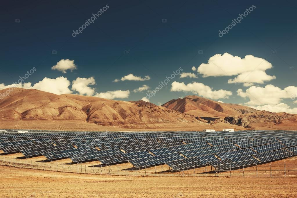 Solar power station in mountains