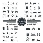 Nappali, hálószoba, konyha, fürdőszoba ikon készlet