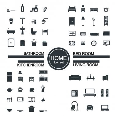 Living room , bedroom , kitchen, bathroom icon set