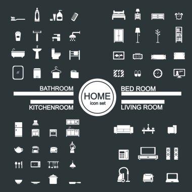 Living room , bedroom , kitchen, bathroom icon set clip art vector