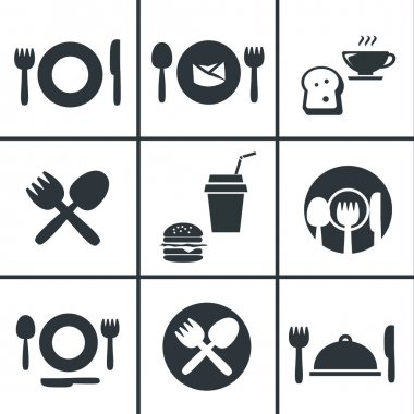 Food Center, Food Court,fork and spoon icon set stock vector