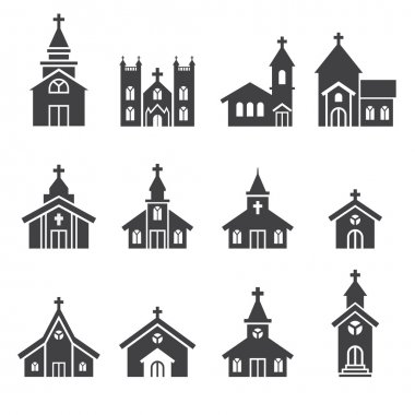 Church building icon stock vector