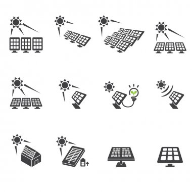 solar cell icon set