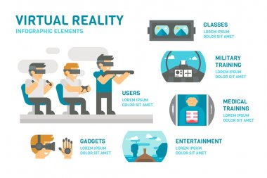 Flat design virtual reality infographic