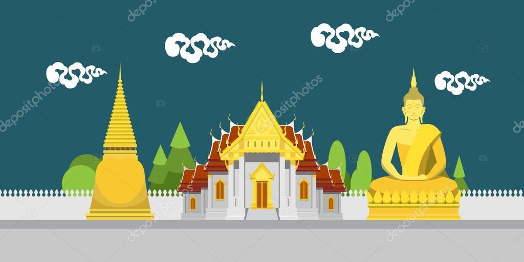 Flat design landscape of Thailand temple